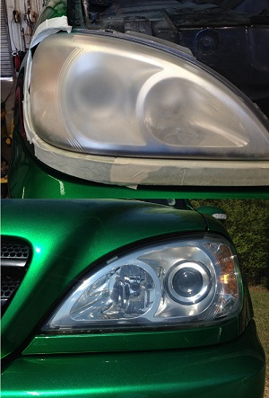 Headlight restoration before and after photo